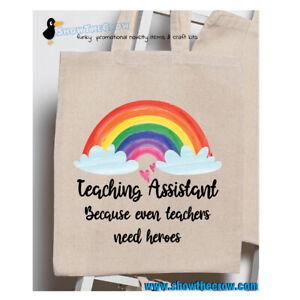 """Teaching Assistant - Rainbow"" Teacher Heroes School 100% Premium Cotton Tote..."
