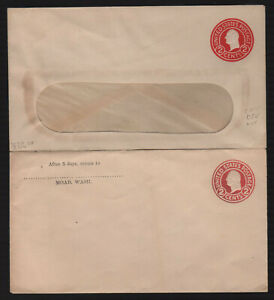 US Postal Stationery U429d Unused Lot of 2 Different Letter, Window VF