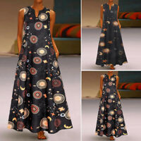 ZANZEA Women Sleeveless Summer Tank Dress Floral Print Long Maxi Dress Sundress