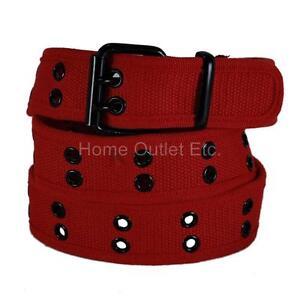 Premium Double Row Grommet Fabric Belt 2 Hole Canvas Web Stud Punk Rock Goth Emo