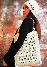 Vintage Crochet Pattern for Tote Bag & Women's Cloche Hat Boho Free Shipping