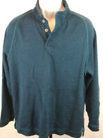 Tommy Bahama Mens Large Blue Henley Long Sleeve Pullover Sweater Casual Shirt