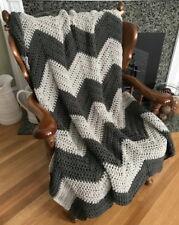 Handmade Crochet Chevron Ripple Chunky Couch Throw Blanket Afghan Gray Grey New