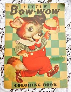 Vintage Large 1940's Unused Coloring Book Little Bow-Wow Dogs w Scotties Scottie