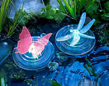 Pack Of 2 Floating Solar Powered LED Butterfly & Dragonfly Pond Feature Lights