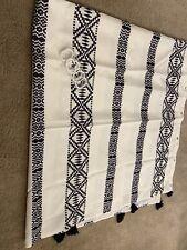 Black White Boho Bohemian Geometric Tassel Fabric Shower  Side Curtain + Hooks