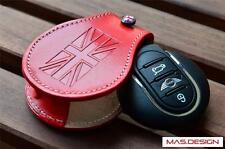 Red Leather key case for 2014 on BMW MINI Cooper S F54-F57 Clubman Cabrio JCW
