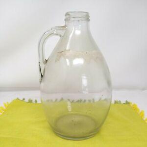 VINTAGE CLEAR GLASS HANDLED CARBUOY BOTTLE TERRARIUM VASE POT 25CM