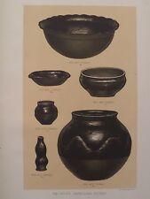 Santa Clara Pueblo Pottery New Mexico 1883 Chromolithograph