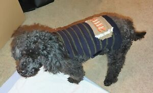 Cha Cha Couture Navy/Olive Football Dog Sweater Vest No D-Ring (Choose Size)