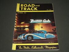 1951 DECEMBER ROAD & TRACK MAGAZINE - GREAT COVER & PHOTOS - K 1009