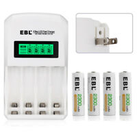 4x EBL 2300mAh NiMh AA Rechargeable Batteries Recharge+ 4Bay LCD AAA AA Charger