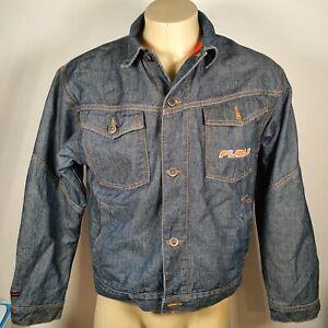 FUBU Size L / 16-18 Denim Long Sleeve Heavy Button Up Embroidered Logo Jacket