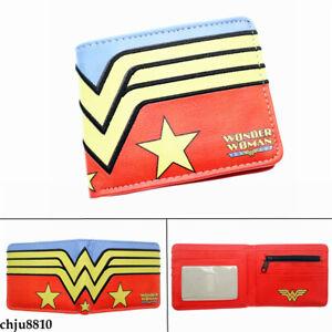 DC Wonder Woman Wallet Bifold Short Purse Pu Card Holder Unisex Coinbag Gifts