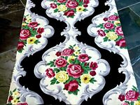 SALE! Cottage Roses on Black Barkcloth Era Vintage Fabric Unused PILLOWS & BAGS