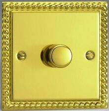 Varilight Classic Georgian Brass 1 Way 2 Gang Push On/Off Rotary Dimmer Switch