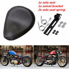 "3"" Leather Solo Spring Bracket Seat For Custom Motorcycle Chopper Bobber"