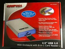 """COMP USA 333107 2.5"""" USB 2.0 HDD ENCLOSURE 8-IN-1 Card Reader & Case  NEW"""