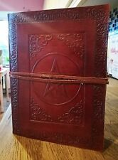 "Pentagram leather journal 8"" x 6"", book of shadows, Wicca Pagan Diary Dream Book"