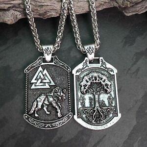 Double Sided Valknut Fenrir Wolf  & Tree Of Life Silver Tone Viking Pendant