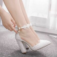 White Lace Wedding Shoes Women High Heels Thick Heels Scandals Pointed Toe Shoes