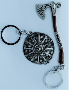 God of War Metal Keychains - Leviathan Axe & Guardian Shield - Video Game Merch
