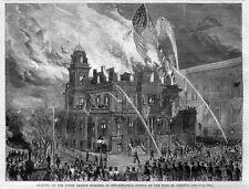 FIREFIGHTING BURNING OF UNION LEAGUE BUILDING PHILADELPHIA FIREMEN RESCUE FLAG