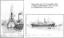 """LÉON BERVILLE 2 DESSINS ORIGINAUX 1900 NAVIRE DE TRANSPORT """"L'INGRID"""" À HONFLEUR"""