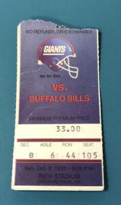 1993 Buffalo Bills Ticket Stub vs New York Giants Rich Stadium AUCTION#2
