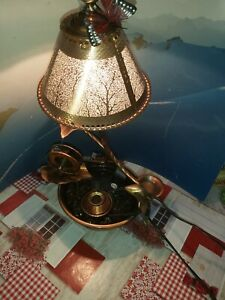 Table water fountain - Copper lily, metal fountain with lamp