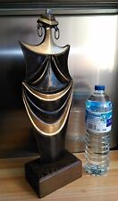 "SUBLIME SCULPTURE AFRICANISTE EN BRONZE CONTEMPORAIN "" CUBISTE "" H 56 cm"