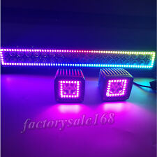 """13.5"""" LED Light Bar + 2x 3"""" CREE Pods with RGB Halo Color Change Chasing Remote"""