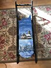 Antique Wooden Sled W  Hand Painted Winter Scene