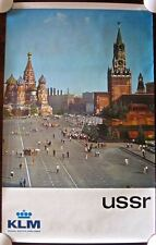 USSR KLM - ORIGINAL RUSSIAN TRAVEL KLM AIRLINE POSTER - COOL CATHEDRAL SQUARE!
