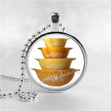Pyrex Butterfly Gold Bowl Set Pendant Necklace Gift for Pyrex Collector