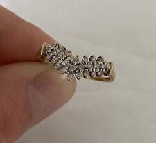 Cluster Ring 9K 375. 9ct Gold Diamond Wishbone