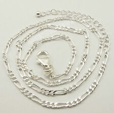 "925 Sterling Silver HANDCRAFTED FIGARO CHAIN 16.5"" + 2"" Extension TRADITIONAL"