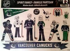Vancouver Canucks Family Spirit LARGE Window Decal Sheet NHL Hockey