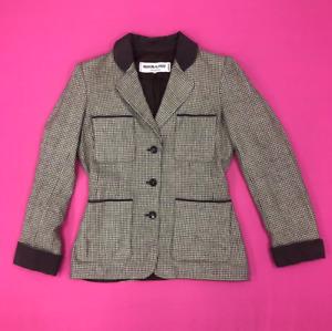 Saint Laurent Blazer Jacket Size UK 12 Brown Cream Houndstooth Vintage 424335