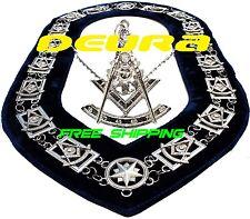 Masonic Regalia PAST MASTER Metal Chain Collar BLUE Backing + Silver Pendant
