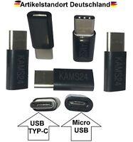 5er Adapter Typ C 3.1 zu Micro USB  Stecker Tablet Lade Kabel Konverter schwarz