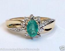 Genuine Birthstone Yellow Gold Diamond Emerald Engagement Wedding Ring May