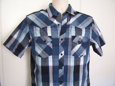 COASTAL Western Style Mens Shirt Blue Plaid Short Sleeve Button Up Size M