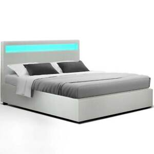 Artiss LED Queen Bed Frame with Gas Lift Base Storage - White Leather