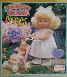 Bouncin' Baby Big Sister N Baby Galoob 1990 2 African American Dolls Damage box