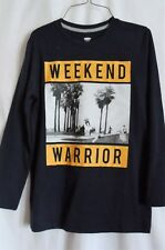 BOYS S 6-7 NAVY BLUE WEEKEND WARRIOR SKATEBOARD L/S SHIRT NWT ~ OLD NAVY