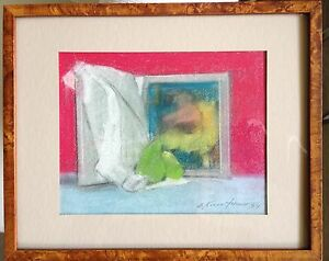 "drawing original realism pastel ""still life"" by stuart kaufman 1926-2008"