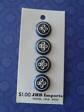 4 Black & White Vintage Plastic Buttons scrapbook quilt jewellery sew bear doll