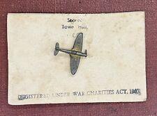 WW2 RAF SPITFIRE FUND BADGE ON ORIGINAL ISSUE COUNCIL CARD