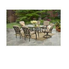 7 Piece Garden Dining Set Outdoor Patio Furniture Swivel Chairs Glass Table Lawn